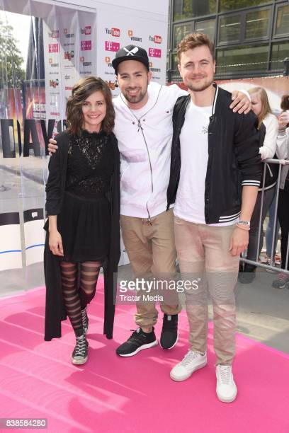 Joyce Ilg Dominik Porschen and Phil Laude during the red carpet arrivals at the VideoDays 2017 at Lanxess Arena on August 24 2017 in Cologne Germany