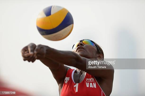 Joyce Joshua of Vanuatu receives at the KlopfTeufl v JoshuaMatauatu game during day two of the FIVB Seoul Women's International Challenger at Seoul...