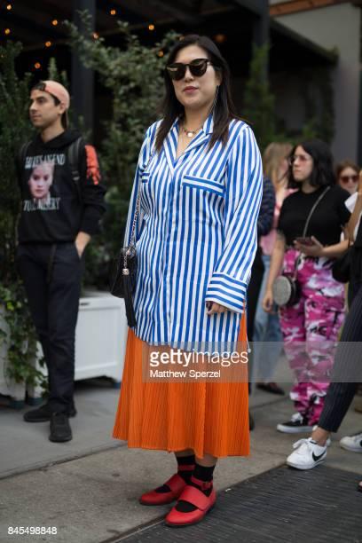 Joyce Lee is seen attending Sandy Liang during New York Fashion Week wearing Acne Studios vintage Issey Miyake Pleats Please Opening Ceremony on...