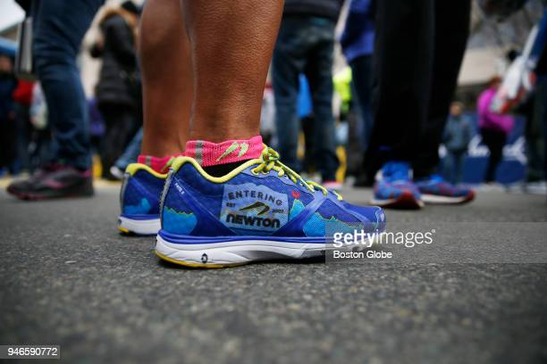Joyce Lee of Fremont California had goosebumps as she visited the Finish Line of the Boston Marathon in Boston MA on April 15 2018