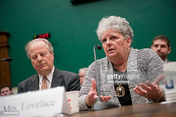 Joyce Lovelace the wife of a meningitis victim testifies at a House Energy and Commerce Oversight subcommittee hearing on 'The Fungal Meningitis...