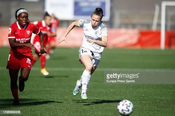Joyce Magalhaes Borini of Madrid CFF and Antionette Oyedupe Payne of Sevilla in action during the spanish women league, Primera Iberdrola, football...