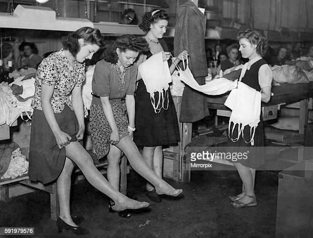 Joyce Meir 18 and Loreine Owens 19 of Middlesbrough choses Nylon fully fashioned stocking as there bonus while Doreen Jones 17 and Mrs Doreen...