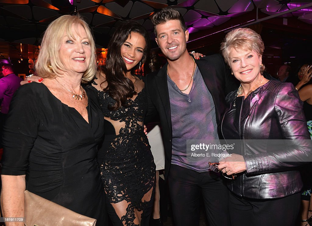 Joyce Patton, actress Paula Patton, singer Robin Thicke and Gloria Loirng attend the after party for the premiere of Fox Searchlight Pictures' 'Baggage Claim' at the Conga Room on September 25, 2013 in Los Angeles, California.