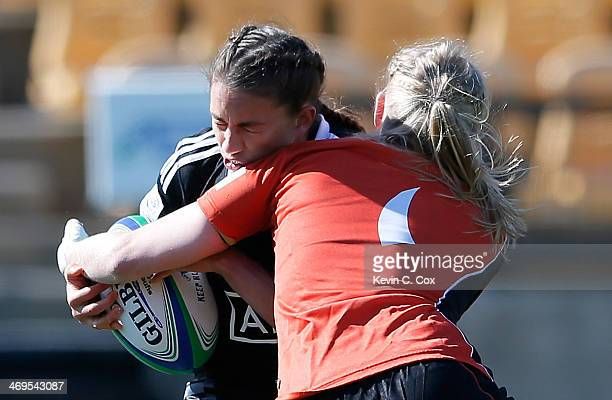 Joyce Van Altena of the Netherlands tackles Selica Winiata of New Zealand during the IRB Women's Sevens World Series at Fifth Third Bank Stadium on...