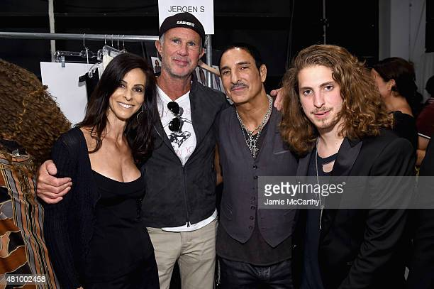 Joyce Varvatos drummer Chad Smith of the Red Hot Chili Peppers Creative Director of Electric Hospitality Nur Khan and musician Andrew Watt attend the...
