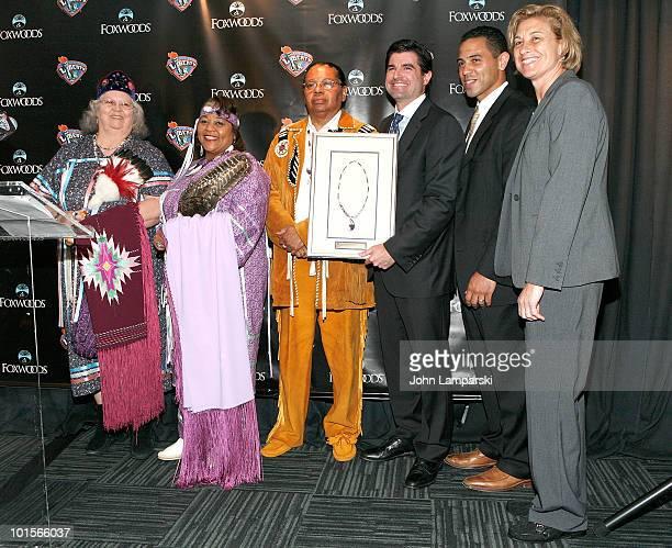Joyce Walker Priscilla BrownAnthony SebastianScott O'NeilRodney Butler and Carol Blazejowski attend a press conference>> at Madison Square Garden on...