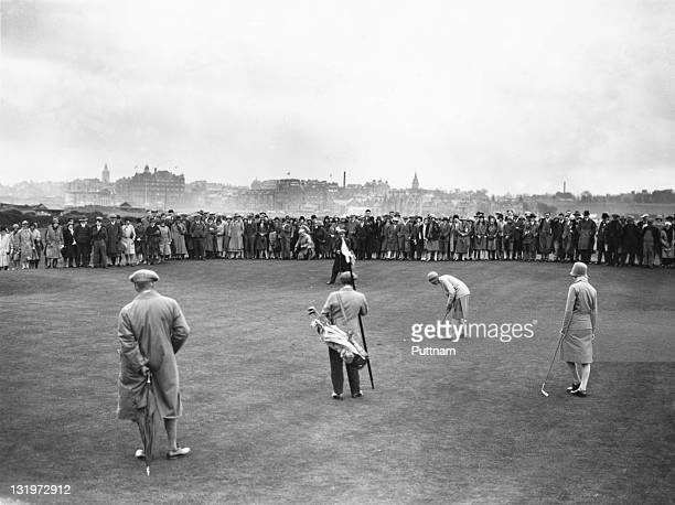 Joyce Wethered and Mrs D G Madill at the last green during the 2nd day of the Ladies Open Golf Championship at St Andrews Scotland 15th May 1929
