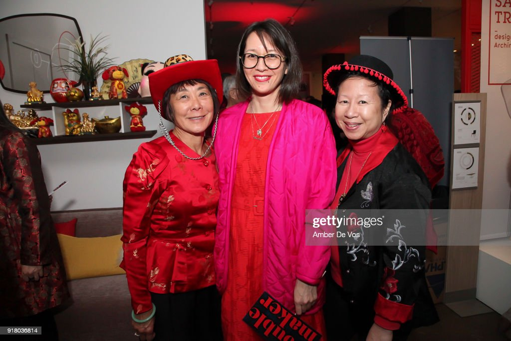 Joyce Yu, Ursula Liang and Liz Ouyang attend New York Chinese New Year Celebration at Calligaris SoHo on February 13, 2018 in New York City.