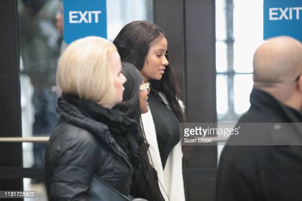 Joycelyn Savage arrives for a bond hearing or R&B singer R. Kelly at the Leighton Criminal Court Building on February 23, 2019 in Chicago, Illinois....