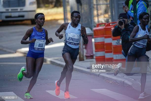Joyciline Jepkosgei of Kenya competes in the New York City Marathon on November 03 2019 in New York City