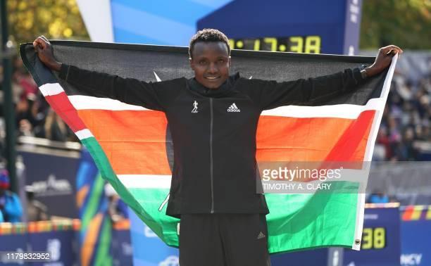 Joyciline Jepkosgei of Kenya poses after winning the Professional Women's Finish during the 2019 TCS New York City Marathon in New York on November 3...