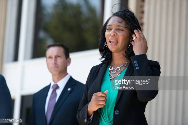Joyette Holmes, Cobb District Attorney, talks with the media outside the Glynn County Courthouse on July 17, 2020 in Brunswick, Georgia. Gregory...
