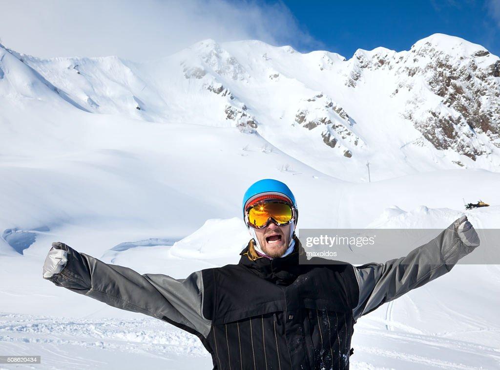Joyful athlete Snowboarder : Stock Photo