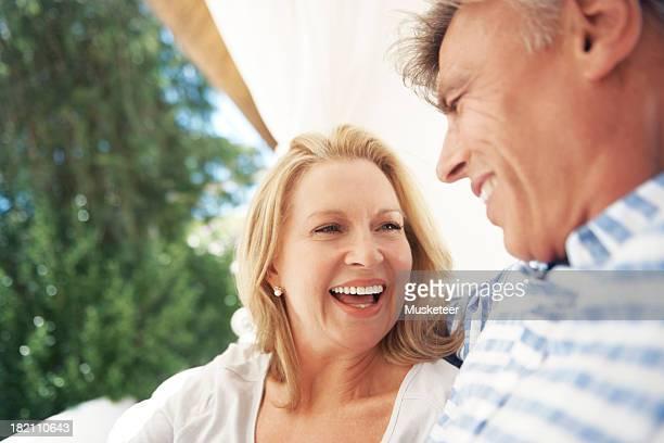 Joyful couple outside