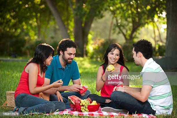 Joyful friends having a picnic
