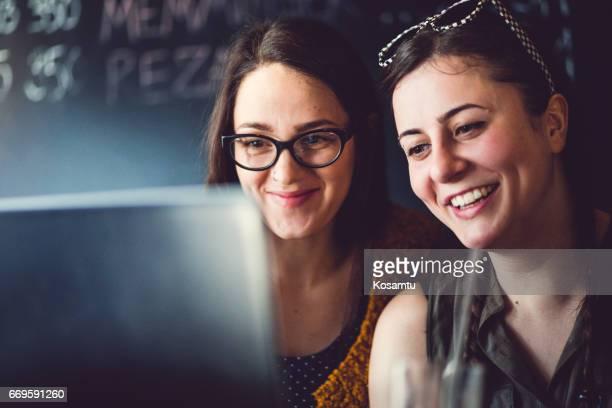 Joyful Girls Surfing The Net