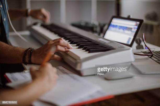 joyful musicians having fun - electric piano stock photos and pictures
