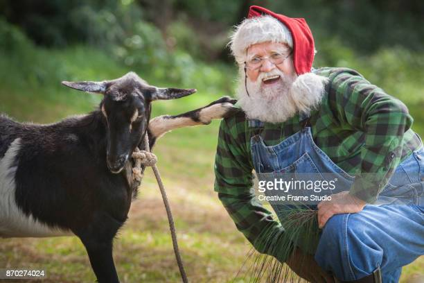 Joyful Santa Claus holding hands with a goat
