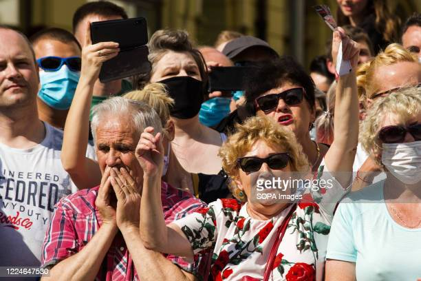 Joyful supporters of President Andrzej Duda with are seen during the campaign. Current president of Poland and presidential candidate in elections...