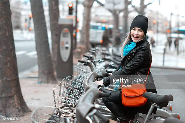 joyful walk with the bike