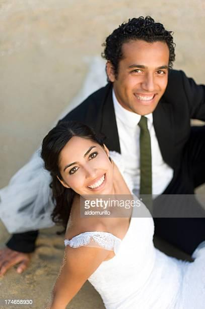 joyful wedding couple