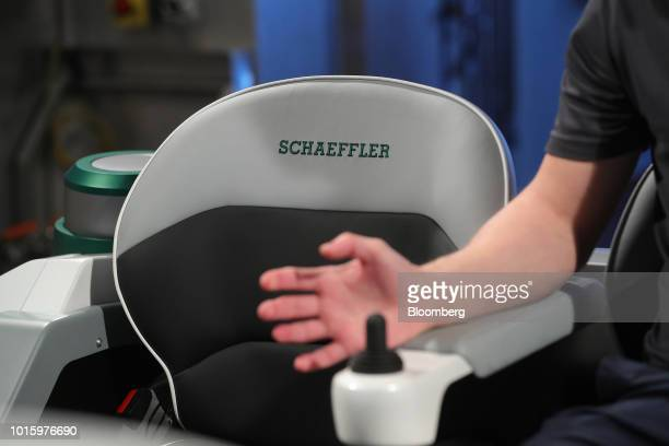 A joystick control sits inside a Schaeffler Mover electric autonomous vehicle in the Schaeffler AG factory in Herzogenaurach Germany on Tuesday July...