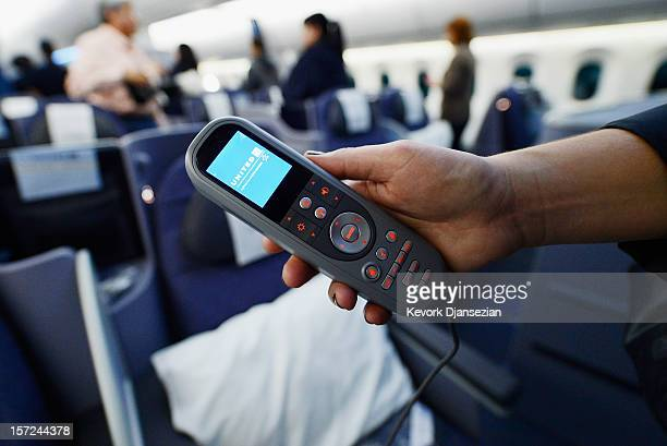 Joystick for the personal entertainment systems is shown on the United Airlines Boeing 787 Dreamliner at Los Angeles International Airport on...