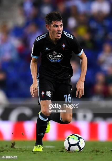 Jozabed Sanchez of RC Celta de Vigo runs with the ball during the La Liga match between Espanyol and Celta de Vigo at CornellaEl Prat stadium on...
