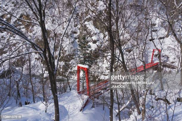 jozankei onsen in winter, japan - sapporo japan stock pictures, royalty-free photos & images