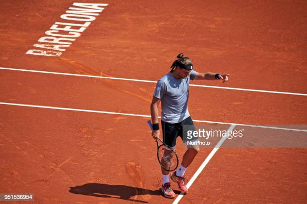 Jozef Kovalik against Dominic Thiem during the Barcelona Open Banc Sabadell on 25th April 2018 in Barcelona Spain
