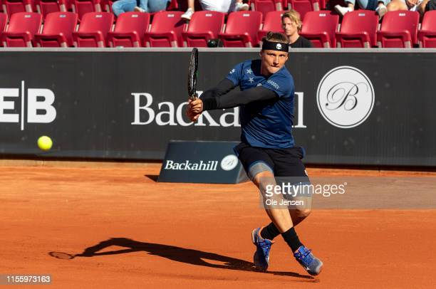 Jozef Kovalik of Slovakia competes against Joao Sousa of Portugal during the FTA singles tournament at the 2019 Swedish Open FTA on July 16 2019 in...