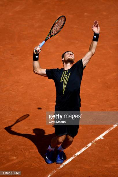 Jozef Kovalik of Slovakia during his mens singles first round match against Stan Wawrinka of Switzerland during Day two of the 2019 French Open at...