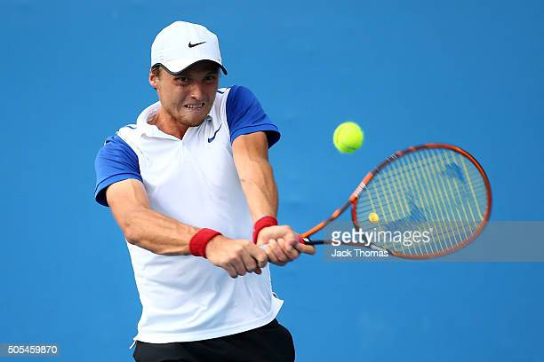 Jozef Kovalik of Slovakia plays a backhand in his first round match against Marco Trungelliti of Argentina during day one of the 2016 Australian Open...
