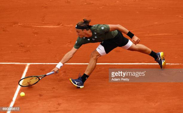 Jozef Kovalik of Slovakia plays a forehand during the mens singles first round match against Stan Wawrinka of Switzerland on day three of the 2017...