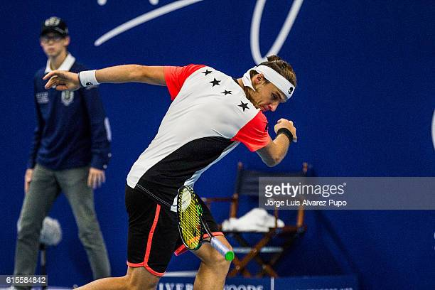 Jozef Kovalik of Slovakia reacts during a match against Pablo Cuevas of Uruguay during the Men's singles 16th finals match of the European Open at...