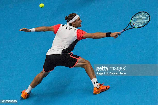 Jozef Kovalik of Slovakia returns a shot against Pablo Cuevas of Uruguay during the Men's singles 16th finals match of the European Open at Lotto...