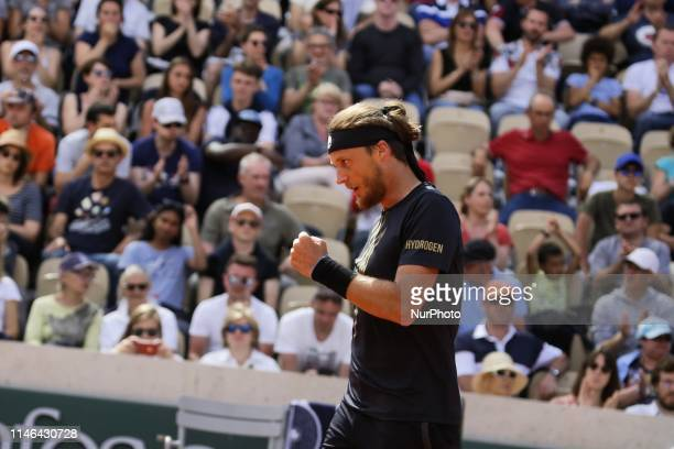Jozef Kovalík during mens singles first round match between Jozef Kovalik and Stan Wawrinka of Switzerland during Day two of the 2019 French Open at...