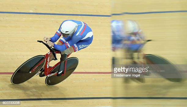 Jozef Metelka of Slovakia compete in the Men's C4 4000m Individual Pursuit Track Cycling on day 3 of the Rio 2016 Paralympic Games at the Olympic...