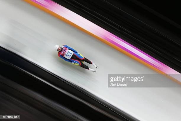 Jozef Ninis of Slovakia makes a run during the Luge Men's Singles on Day 1 of the Sochi 2014 Winter Olympics at the Sliding Center Sanki on February...