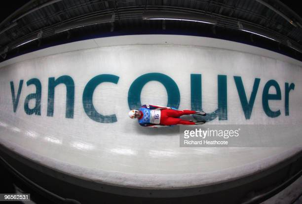 Jozef Ninis of Slovakia practices during the first Men's Single Luge training run at the Whistler Sliding Centre ahead of the Vancouver 2010 Winter...