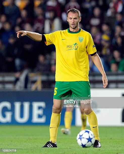 Jozef Piacek of SK Zilina during the Champions League Playoff match between Sparta Prague and Zilina at Generali Arena on August 17 2010 in Prague...