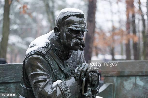 Jozef Pilsudski monument inSulejowek Poland on 9 November 2016