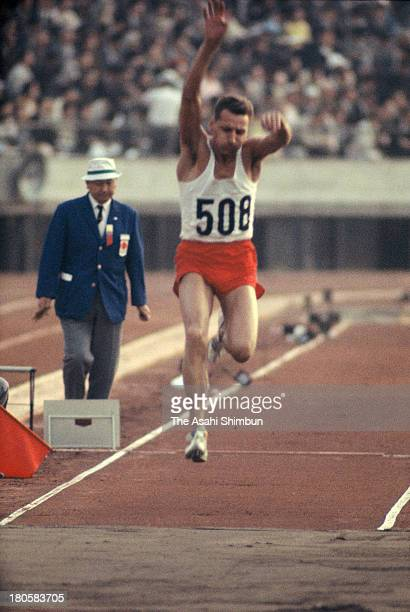 Jozef Szmidt of Poland competes in the Men's Triple Jump during the Tokyo Olympics at the National Stadium on October 16 1964 in Tokyo Japan