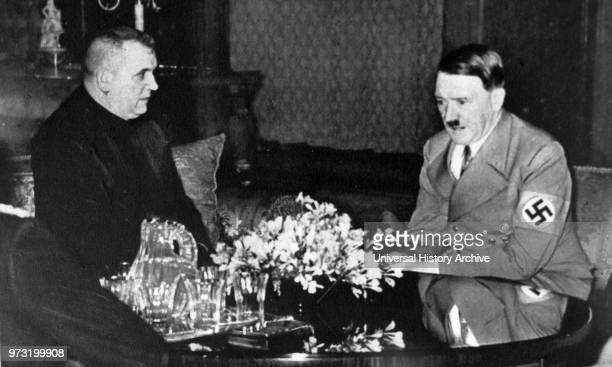Jozef Tiso Slovak Roman Catholic priest and a leading politician of the Slovak People's Party meets Adolf Hitler in Berlin March 1939 Between 1939...