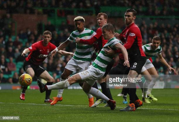 Jozo Simunovic of Celtic scores but it is judged offside during the Scottish Premier League between Celtic and Kilmarnock at Celtic Park on May 9...