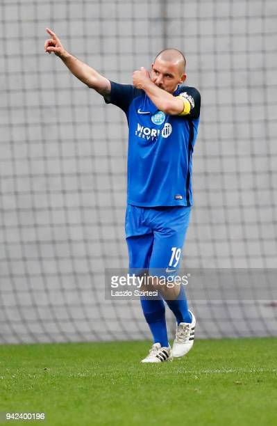 Jozsef Kanta of MTK Budapest celebrates his goal during the Hungarian Cup Quarter Final 2nd Leg match between MTK Budapest and Ujpest FC at Nandor...