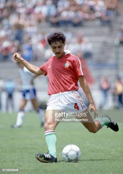 Jozsef Varga in action for Hungary during the FIFA World Cup match between Hungary and France at the Nou Camp Estadio Leon in Leon 9th June 1986...