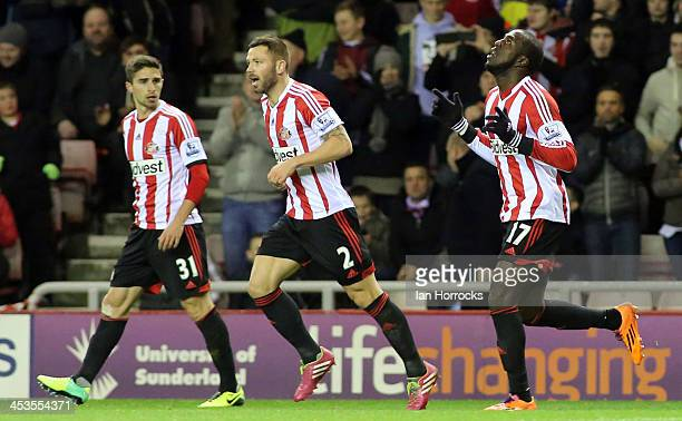 Jozy Altidore of Sunderland celebrates scoring the opening goal during the Barclays Premier League match between Sunderland and Chelsea at The...