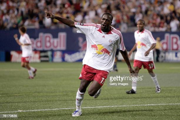 Jozy Altidore of the New York Red Bulls celebrates after scoring his teams fourth goal against the Los Angeles Galaxy at Giants Stadium on August 18,...